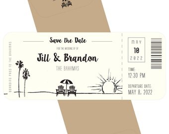 Beach wedding plane ticket save the date, destination wedding; SAMPLE ONLY