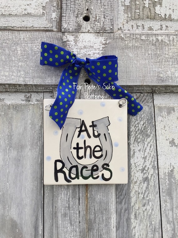 At the races sign, On Derby time tile, Kentucky Derby party, Kentucky Derby decor, Kentucky gift, Kentucky trivet, Ky tile