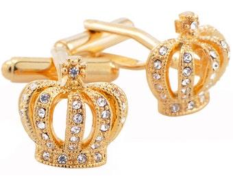 Crystal Royal Crown Golden Cufflinks 1200016