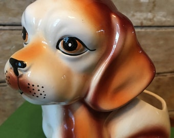Vintage Spaniel Dog Planter Shabby Chic Piece Lovely