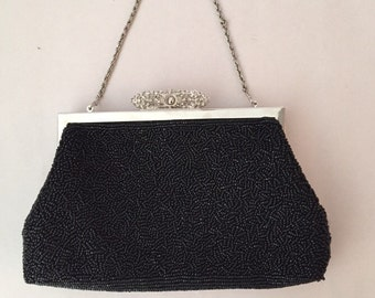 Vintage Black Beaded Bag, Silver Chain handle, great Beading Pattern