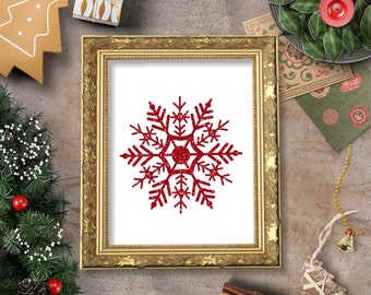 Snowflake Red Glitter on White Background Wall Art Printable- 8x10 - Instant Download, Holiday, Snow, Winter, Kitchen, Home Decor