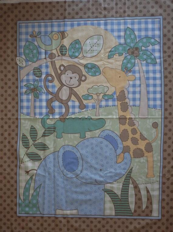 Cotton fabric baby crib quilt panel children 39 s jungle for Children s fabric panels