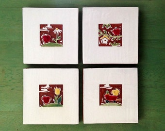 """ON SALE: Red Birds in the garden handmade ceramic tile, wall hanging or coaster 4"""" x 4"""" Set of 4"""