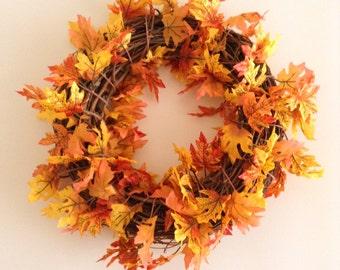 "Fall Wreath Orange and Yellow Fall Leaves 18"" Grape Vine Wreath"