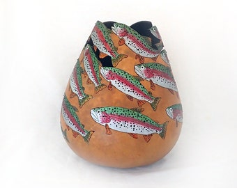 Rainbow Trout Gourd Bowl (1271)