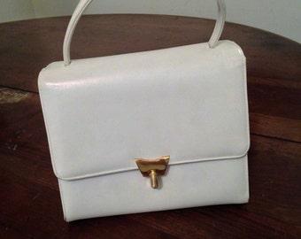 60's Bienen Davis  White Leather Handbag