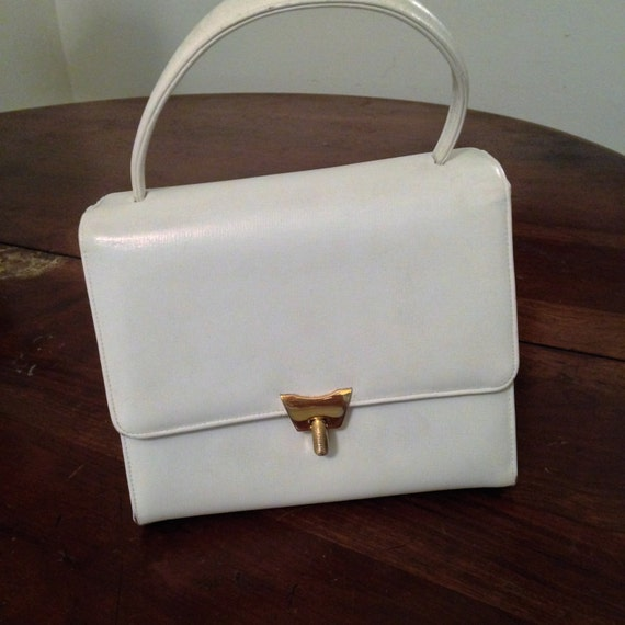 60's Bienen Davis  White Leather Handbag