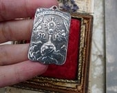 Ex Voto Antique French Ave Maria Pendant, French Sterling Silver Recast Medal, offered by RusticGypsyCreations