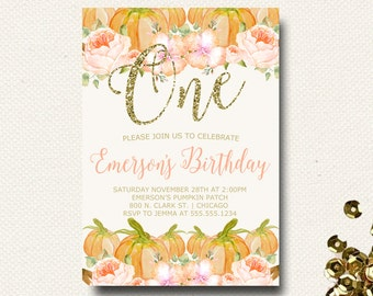 Pumpkin Birthday Invitation Floral Our Little Pumpkin Birthday Party Invite Invitation Glitter Pink Watercolor Fall DIY Printable