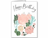 Cactus Mountain Dream Birthday Greeting Card