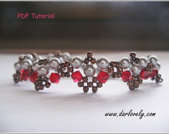Beaded Bracelet Tutorial Pattern - Silver Pearl Red Bronze Bracelet (BB134) - Beading Jewelry PDF Tutorial (Instant Download)