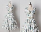vintage 1950s dress / 50s halter dress / 1950s novelty print dress / La Bicicletta dress