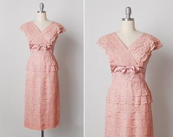 vintage 1950s dress / 50s pink lace dress / tiered lace dress / Chantal dress