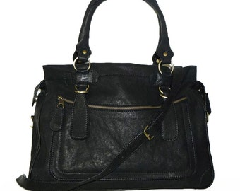 Black Rina Oversized. Distressed Leather handbag // Leather tote handbag cross-body bag, vintage washed look fits a 17 inches laptop