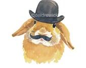 Rabbit Watercolor PRINT - Bunny Art, Bowler Hat, Mustache, Open Edition, 8x10