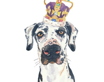 Dog Watercolor - Great Dane - Dog Print, 5x7 Print, Watercolour Dog, Spotted Dog, Dog Painting, Nursery Decor, Dog Lover Gift