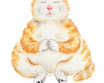 Orange Tabby Watercolor PRINT - 5x7 Cat Watercolour, Peaceful Cat, Meditating, Fat Cat, Nursery Art