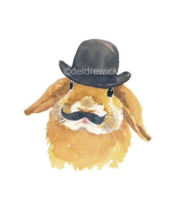 Rabbit Watercolor PRINT - Bunny Art, Bowler Hat, Mustache, Open Edition, 8x10