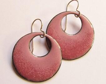 Pink enamel hoop earrings Pink circle dangles Colorful enameled copper jewelry Fun unique earrings