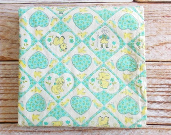 Vintage Baby Blanket / Yellow & Aqua /  Flannel Baby Blanket