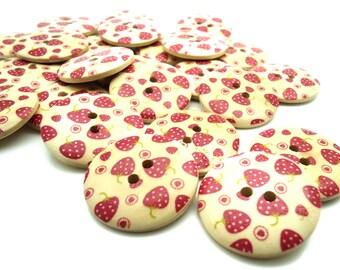 5 x Strawberry Buttons - Wooden Buttons - Craft Supplies - 30mm