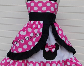 Minnie Mouse Dress Pink and black  peekaboo Jumper Dress