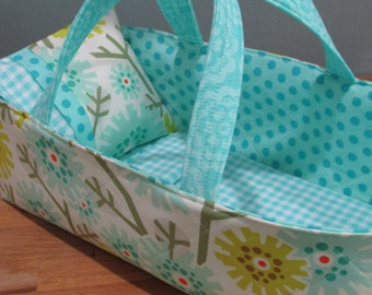 Doll Carrier, 14 inch doll, Bright Modern Flowers with Aqua Lining, Toddler Gift