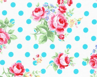 Lecien Flower Sugar fall 2015 - teal blue floral and dots