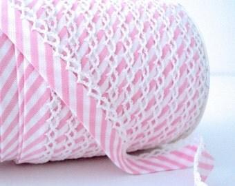 Baby pink candy stripe crochet picot edged bias tape Zakka