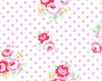 Roses on white with pink dots from Flower Sugar Fall 2016 Sweet Carnival by Lecien of Japan 31375L-20