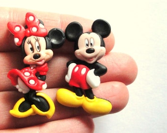 Mickey and Minnie Mouse Stud Earrings. Minnie Earrings. Mickey Mouse Earrings. Disney Earrings.