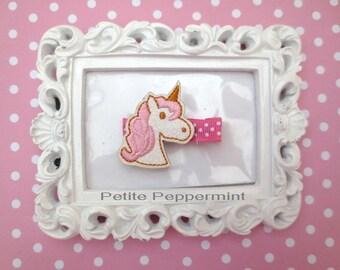 Unicorn baby hair clip, girl hair clip, toddler hair clip, baby hair bow, baby barrette