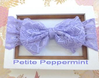 Lavender baby headband, lace bow head wrap, baby bow lace head band, baby head wrap, bow knot headband, Top Knot Baby Headband