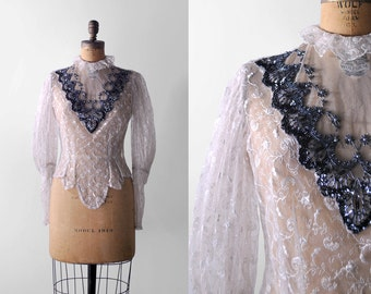 70's floral lace blouse. 1970's beaded blouse. black chantilly. light pink. ruffled collar. M.