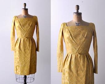 1960's gold dress. brocade. 60 xs dress. sheath. mustard. floral. long sleeve. 60's yellow dress.