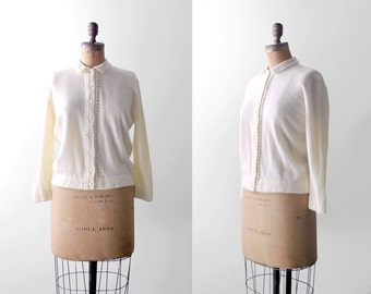 1960 cashmere cardigan. 60's xl sweater. cream. crochet collar. 60 ivory cardigan. large.