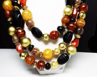 Three Strand Necklace - Multi Strand  - Art Glass Beads - Beaded Fall Tones - Shades of yellow, orange brown metallic Gold & Black by Chicos
