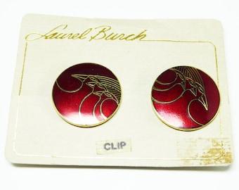 "Vintage Laurel Burch Earrings - Round Red Pin with Birds signed ""Celestial Birds"" - Pop Art - Mod Art Enamel Burgandy Wine Red"