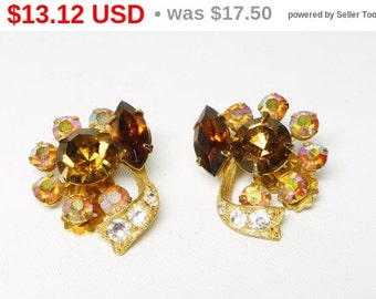 Vintage Rhinestone Earrings - Aurora Borealis & Golden Topaz Crystal Flowers - Clip on Earrings