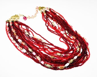 Multi Strand Seed Bead Necklace - Mother of Pearl Accent Beads - Shades of Red & Pink with White - Marked Japan - 1950's 1960's Vintage Era