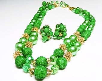 Green Sugar Bead Necklace Earring Set - Beaded Demi Parure - Made in Japan - Vintage Mid Century Mod 1960's Era Beads