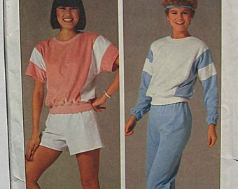 Vintage 80's Simplicity 6906 Sewing Pattern Misses' Easy Pullover Top and Pull-On Pants, Shorts, UNCUT Size Large 18-20