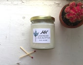 Lavender Eucalyptus Soy Candle Jar - 9.5 oz - all natural, eco-friendly 100% soy wax candle