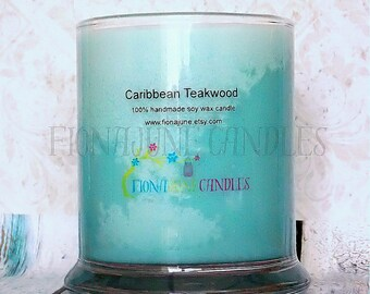Caribbean Teakwood Scented Soy Wax Jar Candle, Turquoise Vegan Status Jar candle