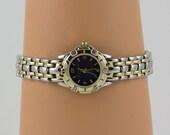 Working Gold Wristwatch, Quartz Movement, Bracelet band, Signed, Japan, Jaclyn Smith, Water Resistant, Blue Pearlize face Vintage, Runs