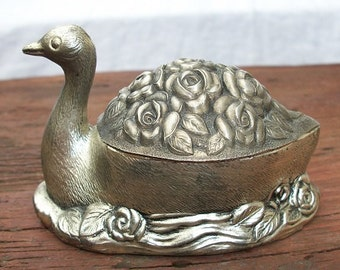 Vintage Gorgeous Metal Swan and Roses Lined Jewelry Trinket Box Hinged Keepsake