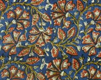 Cotton Fabric Print - Orange and Ochre Floral Pattern on Blue Kalamkari Print 1 Yard - ctjp188