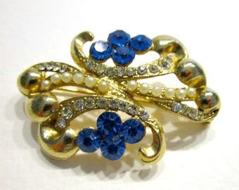 """Vintage Blue Rhinestone Pin Faux Pearl Rhinestone Brooch Gold Pin 1 1/2"""" Small Antique Jewelry Holiday Package Card Gift Idea Under 10"""