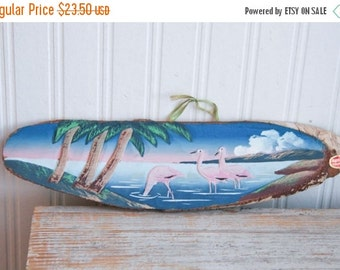 Vintage Handpainted Pink Flamingos on Bark Souvenir, Palm Trees with Volcano, Made in Japan, Hawaii Souvenir, Hand Carved Kitsch Travel,